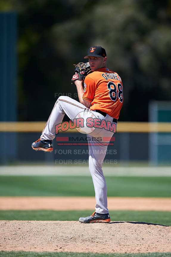 Baltimore Orioles pitcher Kory Groves (88) delivers a pitch during a minor league Spring Training game against the Minnesota Twins on March 17, 2017 at the Buck O'Neil Baseball Complex in Sarasota, Florida.  (Mike Janes/Four Seam Images)