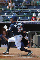 Durham Bulls outfielder Jesus Feliciano #23 at bat during a game against the Louisville Bats at Durham Bulls Athletic Park on May 2, 2012 in Durham, North Carolina. Durham defeated Louisville by the score of 7-5. (Robert Gurganus/Four Seam Images)