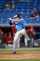 Charlotte Stone Crabs center fielder Cade Gotta (20) at bat during a game against the Clearwater Threshers on April 12, 2016 at Bright House Field in Clearwater, Florida.  Charlotte defeated Clearwater 2-1.  (Mike Janes/Four Seam Images)