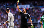 Referee Alberto Mateu Lahoz shows a yellow card to Cristiano Ronaldo of Real Madrid during their La Liga match between Real Madrid and Deportivo Leganes at the Estadio Santiago Bernabéu on 06 November 2016 in Madrid, Spain. Photo by Diego Gonzalez Souto / Power Sport Images