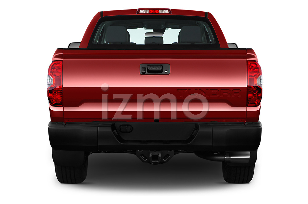 Straight rear view of a 2018 Toyota Tundra SR 4.6L Double Cab Standard Bed 4 Door Pick Up stock images