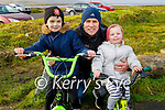 Enjoying a stroll and a cycle in Blennerville on Saturday morning, l to r: Will, Paul and Cara Hussey
