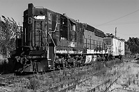 Ex-Southern Pacific 4436 Bloody Nose, a 1955 EMD SD9E locomotive, slowly degrades as it sits idle in Schellville, California.