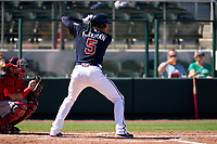 Atlanta Braves Freddie Freeman (5) bats during a Major League Spring Training game against the Boston Red Sox on March 7, 2021 at CoolToday Park in North Port, Florida.  (Mike Janes/Four Seam Images)