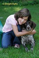 SH24-503z Children loving their German Shorthaired Pointer, PRA, Age 8