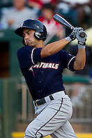 Anthony Seratelli (2) of the Northwest Arkansas Naturals follows through his swing during a game against the Springfield Cardinals at Hammons Field on August 1, 2011 in Springfield, Missouri. Springfield defeated Northwest Arkansas 7-1. (David Welker / Four Seam Images)
