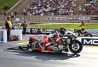 Jul. 19, 2013; Morrison, CO, USA: NHRA pro stock motorcycle rider Shawn Gann during qualifying for the Mile High Nationals at Bandimere Speedway. Mandatory Credit: Mark J. Rebilas-