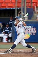 Timmy Richards (13) of the Cal State Fullerton Titans bats against the University of San Diego Toreros at Goodwin Field on April 5, 2016 in Fullerton, California. Cal State Fullerton defeated University of San Diego, 4-2. (Larry Goren/Four Seam Images)