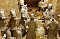 Terra-cotta warriors in Xi'an, Shaanxi province, China.