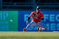 29 July 2018: Batavia Muckdogs infielder Demetrius Sims makes a play at second in the 7th inning against the Vermont Lake Monsters at Centennial Field in Burlington, Vermont. The Lake Monsters defeated the Muckdogs 4-1 in NY Penn League action. Mandatory Credit: Ed Wolfstein Photo *** RAW (NEF) Image File Available ***