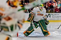 29 December 2018: University of Vermont Catamount Goaltender Stefanos Lekkas, a Junior from Elburn, IL, warms up prior to facing the Rensselaer Engineers at Gutterson Fieldhouse in Burlington, Vermont. The Catamounts rallied to defeat RPI 4-2 and take the Catamount Cup in the annual tournament at the Gut. Mandatory Credit: Ed Wolfstein Photo *** RAW (NEF) Image File Available ***