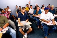 College class with students at desks during lectur