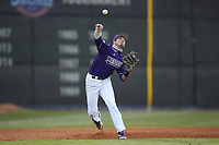 Western Carolina Catamounts third baseman Zach Ketterman (4) makes a throw to first base against the St. John's Red Storm at Childress Field on March 12, 2021 in Cullowhee, North Carolina. (Brian Westerholt/Four Seam Images)