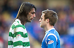 St Johnstone v Celtic.....12.04.11.Georgios Samaras squares up to Alan Maybury.Picture by Graeme Hart..Copyright Perthshire Picture Agency.Tel: 01738 623350  Mobile: 07990 594431