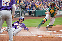 LSU Tigers third baseman Conner Hale (20) slides home as Baylor catcher Cameron Miller (32) shows the ball to the umpire during the NCAA baseball game on March 7, 2015 in the Houston College Classic at Minute Maid Park in Houston, Texas. Hale was called out. LSU defeated Baylor 2-0. (Andrew Woolley/Four Seam Images)
