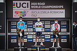 The final podium 1st and World Champion's Jersey for Julian Alaphilippe (FRA), 2nd Wout Van Aert (BEL) and 3rd Marc Hirschi (SUI) at the end of the 258.2km Men Elite Road Race of the 2020 UCI World Championships held around Imola, Italy. 27th September 2020.  <br /> Picture: Radsport/Mario Stiehl | Cyclefile<br /> <br /> All photos usage must carry mandatory copyright credit (© Cyclefile | Mario Stiehl/Radsport)