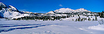 Wintertime, Mammoth Mountain Ski Mountain, Mammoth Rock, and Mammoth Crest, at Mammoth Lakes, in the Eastern Sierra, California
