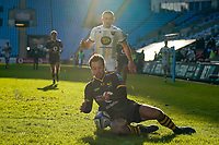 6th February 2021; Ricoh Arena, Coventry, West Midlands, England; English Premiership Rugby, Wasps versus Northampton Saints; Rob Miller of Wasps gets to the ball before Ollie Sleightholme of Northampton Saints