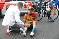 29th August 2020, Nice, France;  VALLS FERRI Rafael (ESP) of BAHRAIN - MCLAREN lays injured during stage 1 of the 107th edition of the 2020 Tour de France cycling race, a stage of 156 kms with start in Nice Moyen Pays and finish in Nice