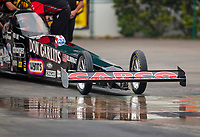 Sep 27, 2020; Gainesville, Florida, USA; Detailed view of the front wing and tires on the dragster of top fuel driver Steve Torrence in his Don Garlits themed dragster during the Gatornationals at Gainesville Raceway. Mandatory Credit: Mark J. Rebilas-USA TODAY Sports