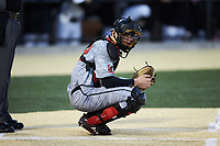 Louisville Cardinals catcher Henry Davis (32) on defense against the Wake Forest Demon Deacons at David F. Couch Ballpark on March 7, 2020 in  Winston-Salem, North Carolina. The Demon Deacons defeated the Cardinals 3-2. (Brian Westerholt/Four Seam Images)