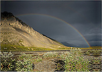 A rainbow forms after a rainstorm along the Canning River in Alaska's Arctic National Wildlife Refuge.