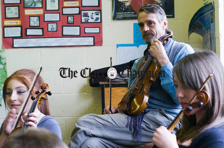 Well known actor Jeremy Irons in Fiddle Class at Spanish Point as part of the Willie Clancy Summerschool. Photograph by John Kelly.