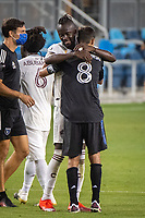 SAN JOSE, CA - SEPTEMBER 05: Kei Kamara #23 and Chris Wondolowski #8 after a game between Colorado Rapids and San Jose Earthquakes at Earthquakes Stadium on September 05, 2020 in San Jose, California.