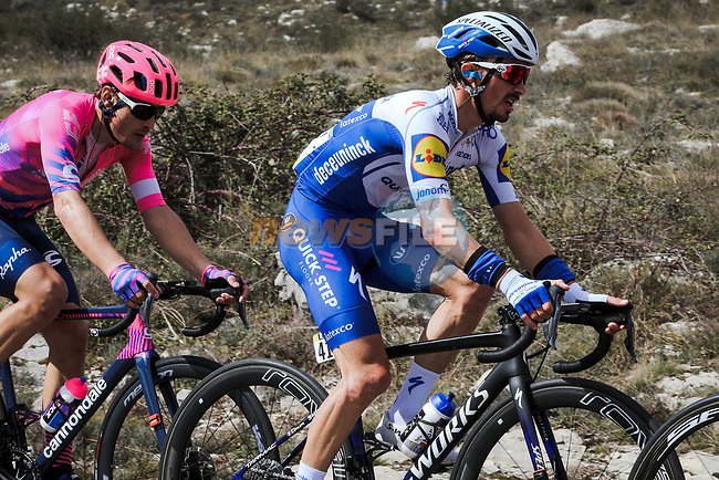 The breakaway including Julian Alaphilippe (FRA) Deceunick-Quick Step and Alberto Bettiol (ITA) EF Pro Cycling during Stage 7 of the 78th edition of Paris-Nice 2020, running 166.5km from Nice to Valdeblore La Colmiane, France. 14th March 2020.<br /> Picture: ASO/Fabien Boukla | Cyclefile<br /> All photos usage must carry mandatory copyright credit (© Cyclefile | ASO/Fabien Boukla)