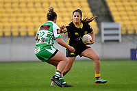 Fa'asua Makisi of the Wellington is tackled during the Farah Palmer Cup Rugby – Wellington v Manawatu at Sky Stadium, Wellington, New Zealand on Friday 25 September 2020. <br /> Photo by Masanori Udagawa. <br /> www.photowellington.photoshelter.com