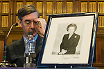 © Joel Goodman - 07973 332324 . 02/10/2017. Manchester, UK. JACOB REES-MOGG and a framed portrait of Margaret Thatcher at a fringe , right-wing Bruges Group event at Manchester Town Hall during the second day of the Conservative Party Conference at the Manchester Central Convention Centre . Photo credit : Joel Goodman