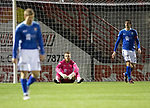 Hamilton Accies v St Johnstone…06.02.19…   New Douglas Park    SPFL<br />Zander Clark reacts after conceeding a second goal<br />Picture by Graeme Hart. <br />Copyright Perthshire Picture Agency<br />Tel: 01738 623350  Mobile: 07990 594431
