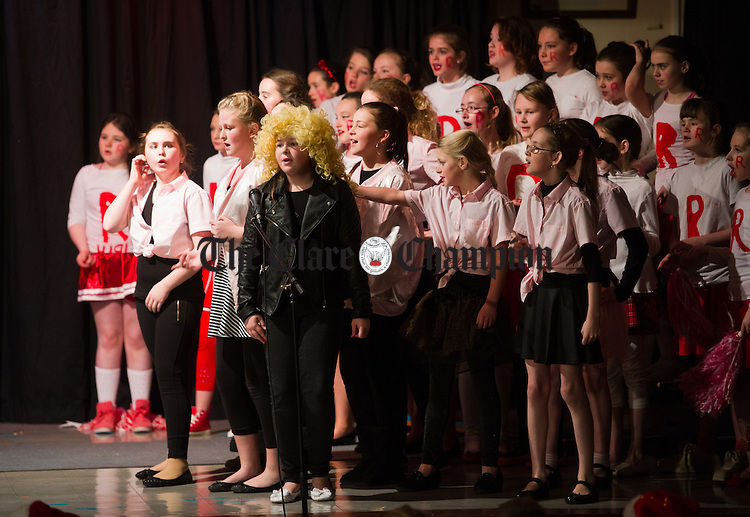 Elizabeth Clancy as the Grease lead Sandy and her friends during the annual Christmas show at St Senan's national school in Kilrush. Photograph by John Kelly.