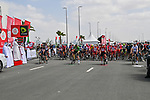 The riders line up for the start of Stage 6 of the 2021 UAE Tour running 165km from Deira Island to Palm Jumeirah, Dubai, UAE. 26th February 2021.<br /> Picture: LaPresse/Gian Mattia D'Alberto   Cyclefile<br /> <br /> All photos usage must carry mandatory copyright credit (© Cyclefile   LaPresse/Gian Mattia D'Alberto)