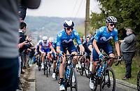 Enric Mas (ESP/Movistar) & Carlos Verona (ESP/Movistar) up the steep Côte de Gives<br /> <br /> 85th La Flèche Wallonne 2021 (1.UWT)<br /> 1 day race from Charleroi to the Mur de Huy (BEL): 194km<br /> <br /> ©kramon