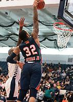 WASHINGTON, DC - NOVEMBER 16: David Syfax Jr. #32 of Morgan State shoots a basket during a game between Morgan State University and George Washington University at The Smith Center on November 16, 2019 in Washington, DC.