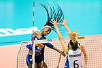 Paola Ogechi Egonu of Italy (L) attacks during the match between Argentina and Italy on May 30, 2018 in Hong Kong, Hong Kong. Photo by Marcio Rodrigo Machado / Power Sport Images