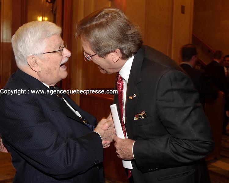 Montreal (Qc) CANADA -October 9 2007 -<br /> <br /> Paul Gerin-Lajoie , Albert Millaire,<br /> le 9 octobre 2007 au cocktail du<br /> Gala des Grands Montrealais a l'Hotel de Ville de Montreal<br /> <br /> photo : Agence Quebec Presse<br />  - Pierre Roussel
