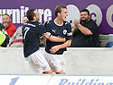 21/08/2010   Copyright  Pic : James Stewart.sct_jsp008_falkirk_v_stirling_alb  .:: MARK TWADDLE IS CONGRATULATED BY MARK STEWART AFTER HE SCORES THE FIRST :: .James Stewart Photography 19 Carronlea Drive, Falkirk. FK2 8DN      Vat Reg No. 607 6932 25.Telephone      : +44 (0)1324 570291 .Mobile              : +44 (0)7721 416997.E-mail  :  jim@jspa.co.uk.If you require further information then contact Jim Stewart on any of the numbers above.........
