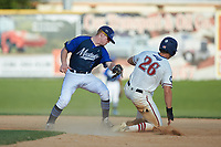 Zach Gelof (26) (UVA) of the High Point-Thomasville HiToms slides into second base ahead of the tag by Martinsville Mustangs shortstop Jimmy Losh (8) (Millersville) at Finch Field on July 26, 2020 in Thomasville, NC.  The HiToms defeated the Mustangs 8-5. (Brian Westerholt/Four Seam Images)