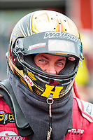 Sep 14, 2019; Mohnton, PA, USA; NHRA top fuel driver Clay Millican during qualifying for the Reading Nationals at Maple Grove Raceway. Mandatory Credit: Mark J. Rebilas-USA TODAY Sports