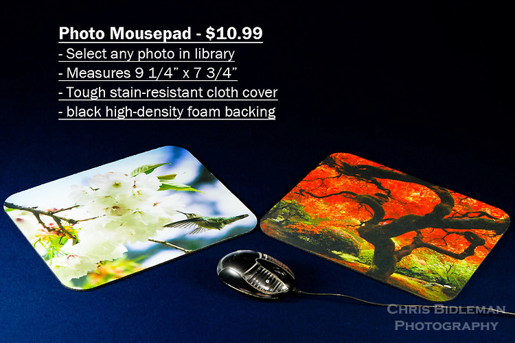 """Photo Mousepad - order with any photo from the Chris Bidleman Photography collection.  Measure 9 1/4"""" x 7 3/4"""" in size.<br /> <br /> Create your own custom mousepad with any photo in Chris Bidleman Photography library.  Printed on a durable cloth cover, your custom mousepad adds an unique look to home or office.  The no-slip back keeps the pad in place, allowing for smooth mouse movement across the cover.  Makes a thoughtful office gift.<br /> <br /> To order, select your photo from the library, pick the """"buy"""" button, and go to the """"products"""" tab to select mousepad."""