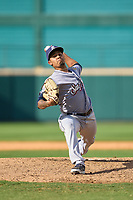 San Antonio Missions pitcher Osvaldo Hernandez (18) during a game against the Frisco RoughRiders on June 27, 2021 at Dr. Pepper Ballpark in Frisco, Texas.  (Ken Murphy/Four Seam Images)