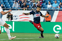 FOXBOROUGH, MA - JUNE 23: Gustavo Bou #7 of New England Revolution on the attack during a game between New York Red Bulls and New England Revolution at Gillette Stadium on June 23, 2021 in Foxborough, Massachusetts.