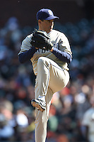 SAN FRANCISCO - APRIL 7:  Greg Maddux of the San Diego Padres pitches during the game against the San Francisco Giants at AT&T Park in San Francisco, California on April 7, 2008.  The Padres defeated the Giants 8-4.  Photo by Brad Mangin
