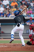 Delvin Zinn (3) of the Tennessee Smokies at bat against the Chattanooga Lookouts at Smokies Stadium on July 31, 2021, in Kodak, Tennessee. (Brian Westerholt/Four Seam Images)