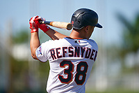 Minnesota Twins Rob Refsnyder (38) on deck during a Major League Spring Training game against the Pittsburgh Pirates on March 16, 2021 at Hammond Stadium in Fort Myers, Florida.  (Mike Janes/Four Seam Images)