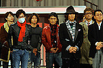 """Tokyo, Dec. 30, 2009 - Japanese boy band SMAP members Tsuyoshi KUSANAGI (red jacket), Takuya KIMURA, Shingo KATORI and Hiroshi ITSUKI (from L to R) are photographed during the second day of rehearsals for 'Kohaku Uta Gassen,' or also more commonly known as 'Kohaku.' Produced by the Japanese public broadcaster, NHK, this annual music show airs on New Year's Eve and ends shortly before midnight, where everyone on air pauses to say """"Happy New Year."""" The 'Red and White Song Battle' separates the most popular music artists during each given year into teams of red and white: the red team consists of all female artists and the white team is all male artists. For an artist to perform on Kohaku, it is a great honor as only the most successful enka singers and J-Pop artist are strictly invited to perform by invitation only. Today, for a J-Pop artist or enka singer to perform on Kohaku, is most notably recognized to be a big highlight in a singer's career due to the show's large reach of audience during New Year's Eve."""