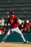 Calvin Copping #21 of the Cal State Northridge Matadors pitches against the USC Trojans at Dedeaux Field on February 24, 2013 in Los Angeles, California. (Larry Goren/Four Seam Images)
