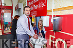 Seamus McCarthy manager washs his hands in the sinks installed ay the front door at Garvey's  Super Valu Castleisland